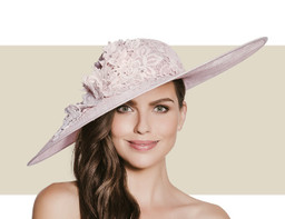 LACE AND AUSTRIAN CRYSTAL HAT - Peony Blush Pink