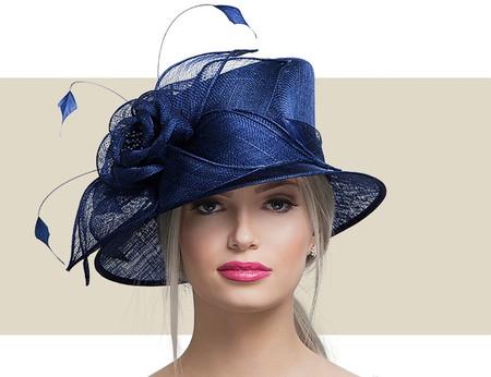 KENDALL Fancy Church Hat - Navy Blue