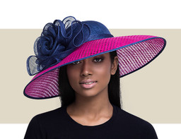 CARRIE - Navy Blue with Hot Pink