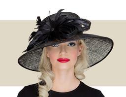 KIRSTEN Downbrim Church Hat - Black