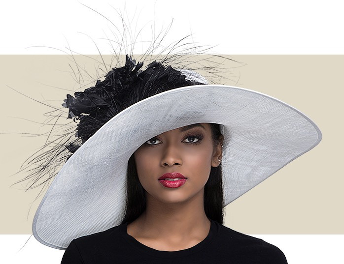 295e8ab326a Home · Kentucky Derby Hats  PRISCILLA - White and Black. Image 1