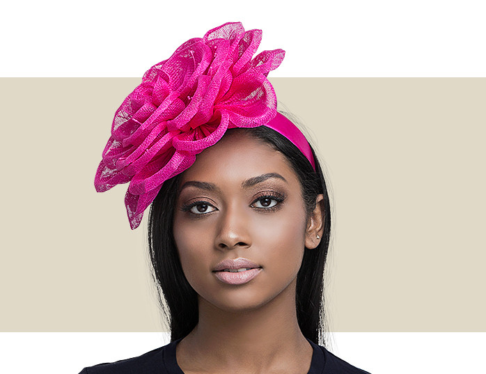 Flower Fascinator Hot Pink Gold Coast Couture