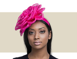 FLOWER FASCINATOR - Hot Pink