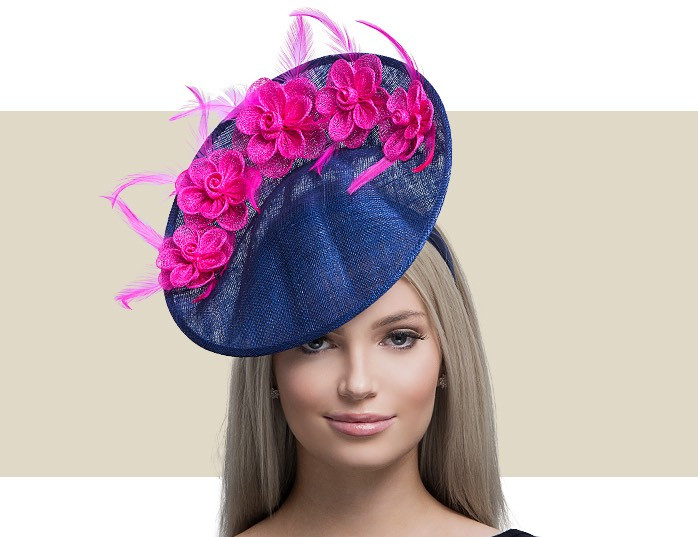 ad9f66741ac17 Home · Hats; ANEMONE - Navy Blue and Hot Pink. Image 1