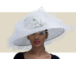 LARGE DOWNBRIM WITH VEILING - White
