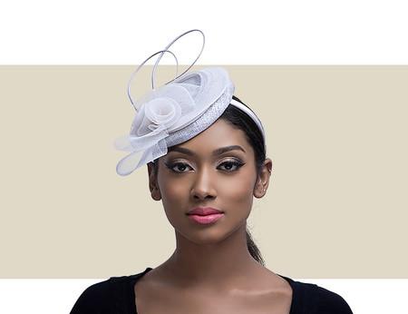 SIERA Cocktail Wedding Hat - Silver