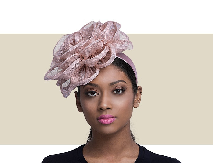 FASCINATOR flower /& feather on a covered HEADBAND IN 3 COLOURS