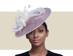 TULAROSA Two Tone Fascinator Church Hat - Taupe and Ivory