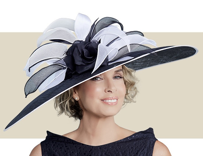 c241f75293d Home · Kentucky Derby Hats  KAMALLA - Black and White. Image 1