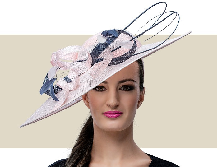 a294693aa6ca7 Home · Kentucky Derby Hats; CLARICE - Light Pink and Navy Blue. Image 1