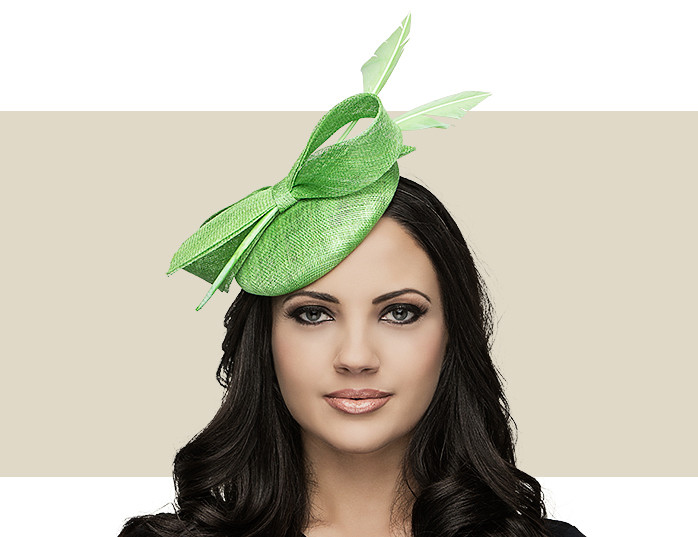 Apple Green Fascinator Hat with Feather Arrow 8c69f31172b