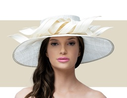 LARGE DOWNTURN RIBBON HAT - Ivory