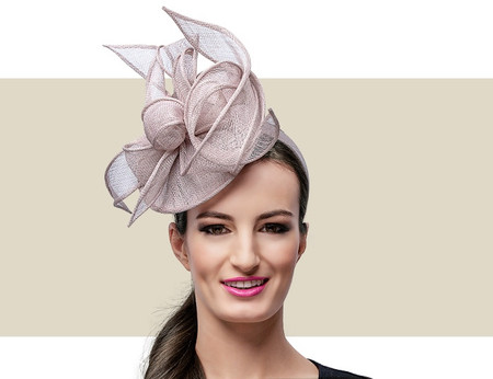 MARCEY Cocktail Fascinator Wedding Hat - Taupe