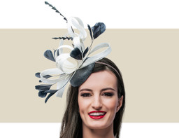 FEATHER HEADPIECE - Black and Ivory