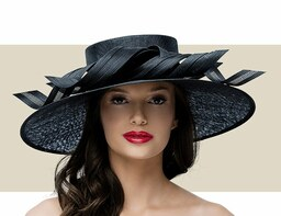 LARGE DOWNTURN RIBBON HAT - Black