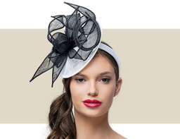 MARCEY FASCINATOR HAT - White and Black