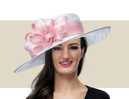NICO Fancy Church Hat - White with Light Pink