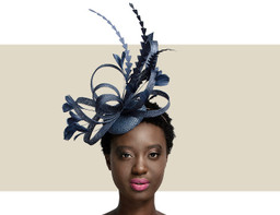 FEATHER FASCINATOR - Navy Blue