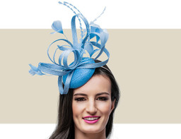 FEATHER FASCINATOR - Powder Blue