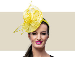 MARCEY FASCINATOR HAT - Yellow