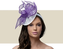MARCEY FASCINATOR HAT - White and Purple