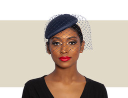 BERET WITH MERRY WIDOW AND CRYSTAL VEIL - Navy Blue