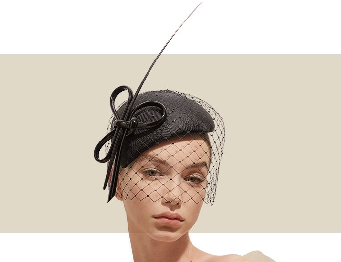 6469ca213824b HANDBLOCKED CALOTTE HAT WITH VEILING - Black - Gold Coast Couture
