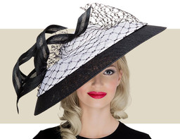 DOMED DOWNTURN BRIM HAT - Black and White