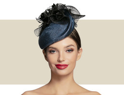 HEART-SHAPED COCKTAIL HAT - Black and Navy