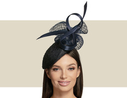 KNOTTED BERET COCKTAIL HAT - Navy Blue