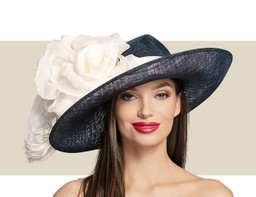 SMALL OVAL HAT WITH SATIN BAND - Navy with Ivory