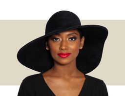 STRUCTURED VELOUR WAVE HAT - Black