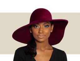 STRUCTURED VELOUR WAVE HAT - Burgundy