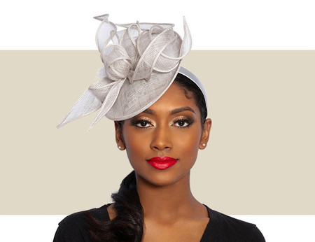 MARCEY Cocktail Fascinator Wedding Hat - Silver