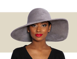 STRUCTURED VELOUR WAVE HAT - Dove Grey