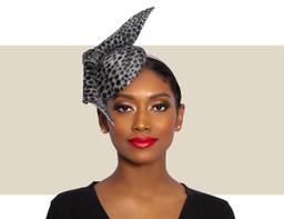 VELOUR COCKTAIL HAT - Leopard Print