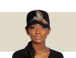 WOMENS VELOUR COLIBRI CAP - Black and Multi