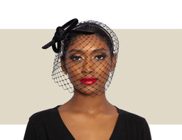 VELVET BOW WITH CRYSTAL VEILING - Black