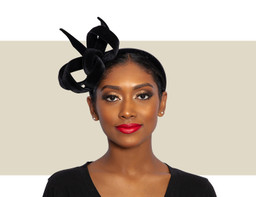 VELVET RIBBON HEADDRESS - Black