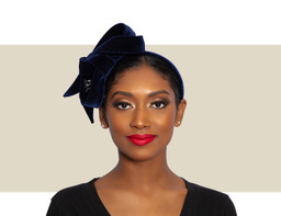 VELVET RIBBON HEADDRESS - Navy Blue