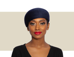 WOMENS VELOUR BERET HAT - Navy Blue