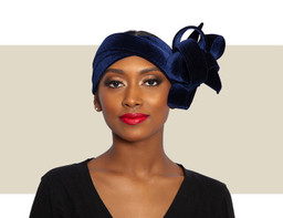 VELVET RIBBON WRAP HEADBAND - Navy