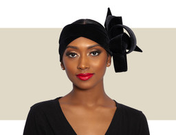 VELVET RIBBON WRAP HEADBAND - Black