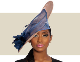 FIONA FASCINATOR HAT - Nude and Navy Blue