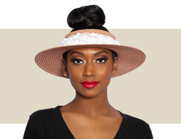 LETTIE VISOR HAT - Nude Blush and Ivory