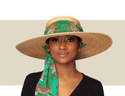TUSCANY - Natural with Green Print Scarf