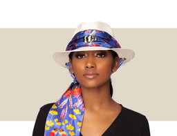 PANAMA HAT - Natural with Blue Silk Scarf