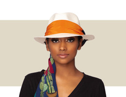 PANAMA HAT - Natural with Cactus Scarf
