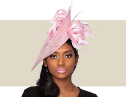 CHERI FASCINATOR HAT - Light Pink