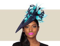 CHERI FASCINATOR HAT - Navy and Turquoise Blue